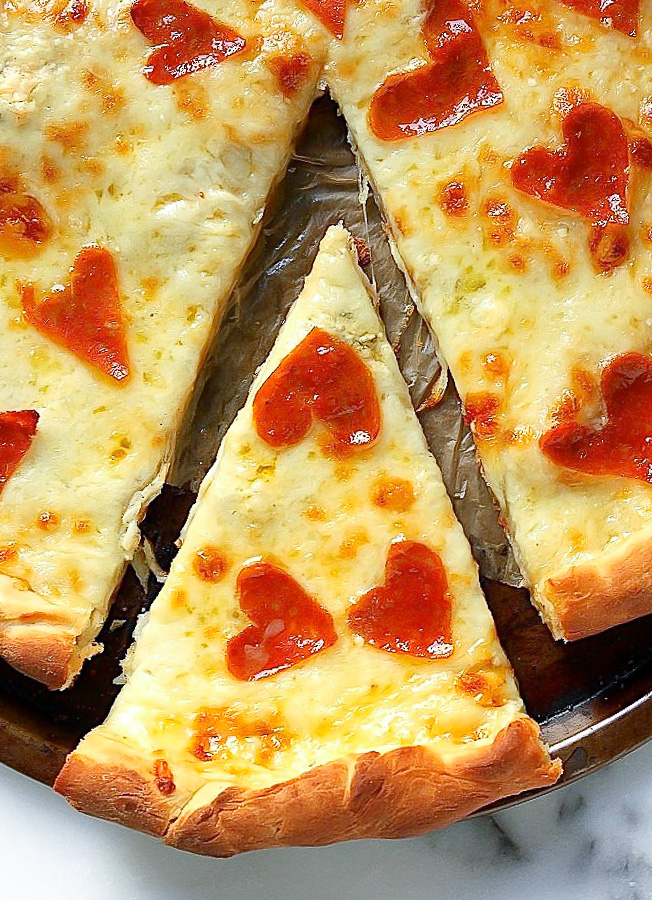 Pizza with Pepperoni Hearts